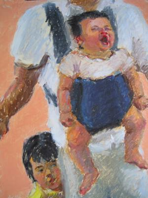 children's portrait painted by Joan Zylkin:  sister and baby 9x12 ins oil pastels