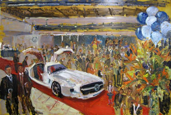 painting at opening of new DE Benz Showroom now hanging in the showroom