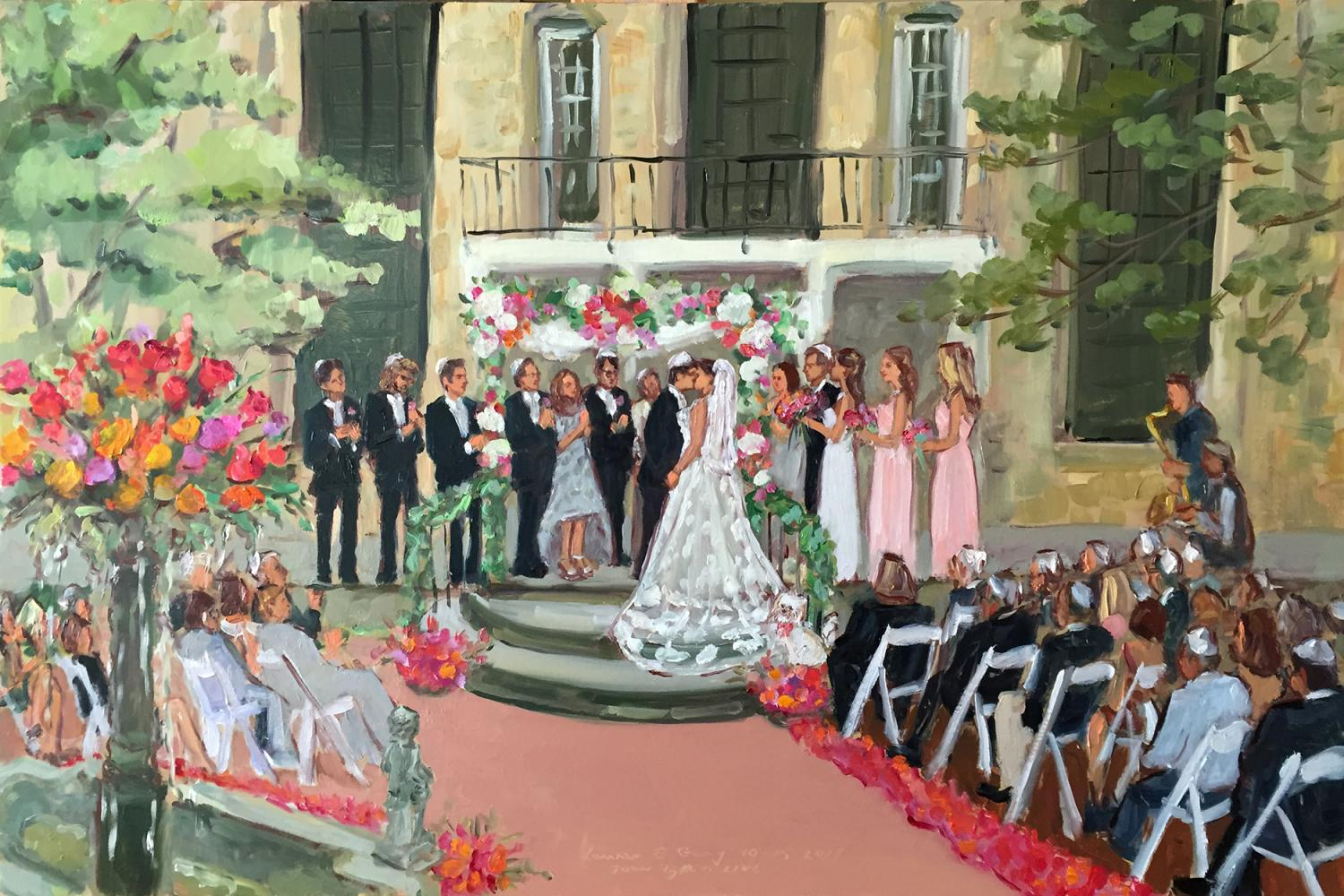 Live event wedding ceremony painting at Holly Hedge Estate