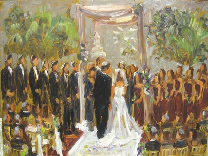 Live wedding painting Philadelphia:  Huppa Ceremony at the Double Tree Hilton