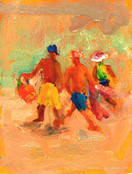 live painting of children running to the beach, by Joan Zylkin 6x8 in oils