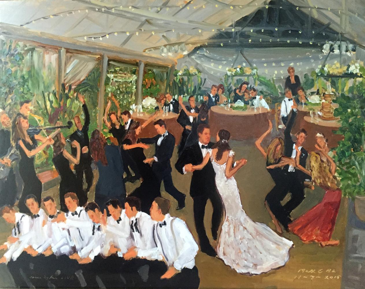 Live Event Painting at a Philadelphia wedding at the Horticultural Center