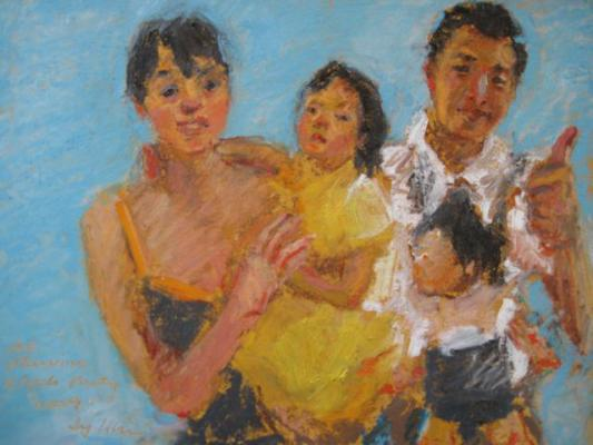 family portrait painted by Joan Zylkin:  oil pastels, 8x10