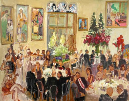 Live Event Painting:  Corporate Holiday party at The Barnes Museum