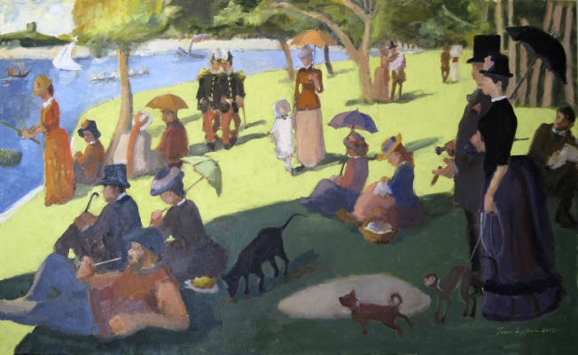 """Sunday in the Park with George"" Oil painting by Joan Zylkin,  36x60 inches, oils."