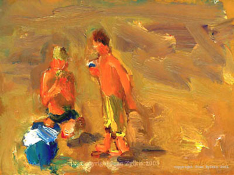 live painting by Joan Zylkin :  children beach snack  5.5x7.5 ins oils