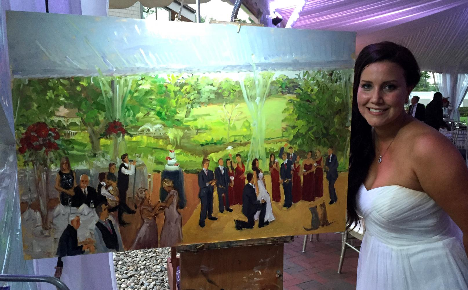 Princeton Bride with her live event painting