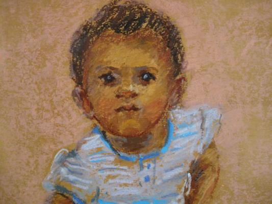 children's portrait painted by Joan Zylkin: oil pastels, 8x10 SOLD