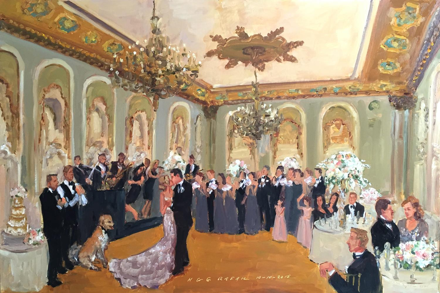 Hoel du Pont wedding painted live by The Event Painter Joan Zylkin
