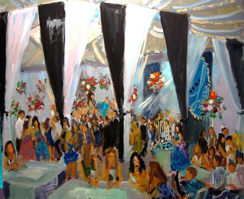 painting at a Bat Mitzvah in NJ with a Big Tent camping theme