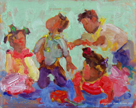 live painting of children by Joan Zylkin:  babies in nursery school:  8x10 ins  SOLD