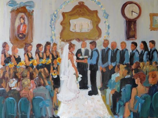 Painting a Wedding Ceremony with a Grooms Woman
