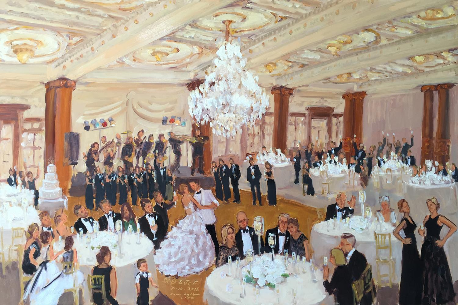 Crystal Tea Room Wedding painted live by The Event Painter