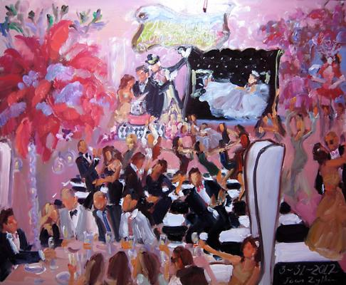 painting at a Bat Mitzvah, L Is. - Alison's Wonderland with Mad Hatter et al.