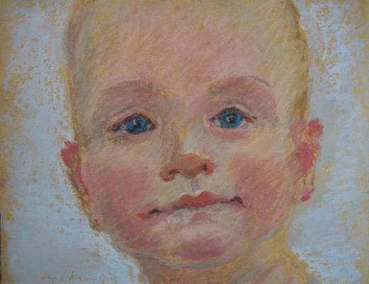 children's portraits painted by Joan Zylkin:  oil pastels
