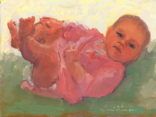 baby portrait painted by Joan Zylkin:  oils, 12x16 ins SOLD