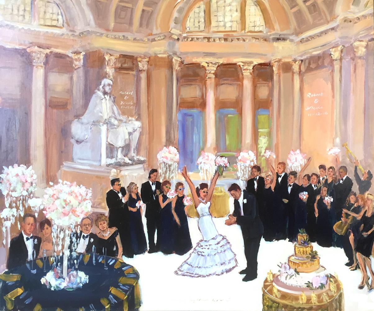 Wedding at Franklin Institute painted live